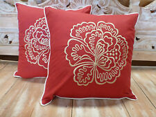 Cotton Cushion Covers Red & Cream Hibiscus Flower Embroidery (pair) 40cm