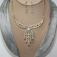Jewellery Set Necklace Earrings Cristal Strass Bride Necklace Chain Gold 88