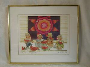 Ann L. Carter (Kansas) 1993 Original Art children, watermelon, quilt Exceptional