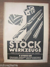 Pubblicità 1940 originale STOCK WERKZEUGE punte trapani professionali trapano