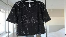 Topshop Black Sequinned Cropped T Shirt Top, Size 6