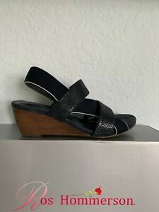 NIB WOMEN ROS H0MMERSON DRESS/CAS.WEDGE SANDALS/SHOES NAVY SIZE 8 MED.