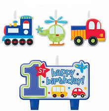 All Aboard Boy's 1st Birthday Party Cake Decoration Mini Candle Set 4pcs