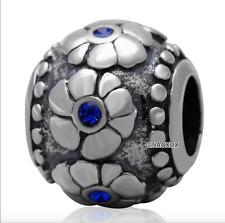 Authentic.925 Solid Sterling European Charm Fit PAN BRACELET DARK BLUE FLOWER