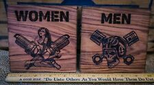 Motorcycle Rockabilly Men Woman Bathroom Signs Premium Hardwood Laser Engraved