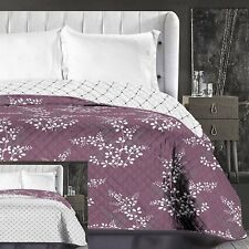 Purple Lilac Creme Reversible Throw Quilted Bedspread Comforter Size 240 x 260cm