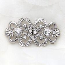 Vintage Rhinestone Crystal Wedding Closure Hook and Eye Sew On Button Clasp