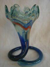 Vintage Sooner Glass Art Vase Blue Orange