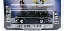 Black 1989 chevy blazer k-5 rubber tires 1/64 scale diecast model car greenlight