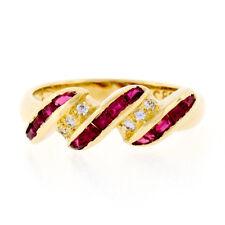 18k Yellow Gold 0.46ctw Calibre Cut Channel Set Ruby & Diamond Swirl Band Ring