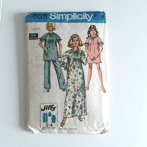 Vtg Simplicity Sewing Pattern 1960s 60s Nightgown and Pajamas Pjs  8-10 12-14