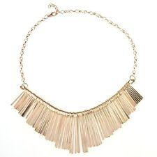K9 Womens Metal Multilayer Chain Tassels Choker Bib Necklace
