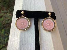 14K Gold Rhodochrosite Eye Dangle Earrings