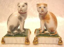 Sitzendorf Cats on Cushions, Ginger and Black with White - Very Rare C1900