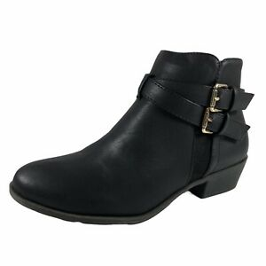 Top Moda Womens Boots 8 Black Cross Strap Gold Buckle Ankle Bootie Side Zip New