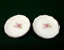Vintage Porcelain Butter Pats, Set of 2 ~ Pink Floral Pattern, No Mark, #BP-01
