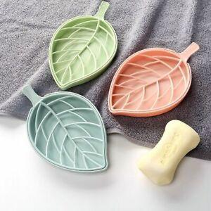 Toilet Leaf Shape Non Slip Soap Dish Tray Holder Draining Rack Bathroom Gadgets`