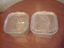 2 Refrigerator Clear Ribbed Glass Dish Box w Lid 4 x 4 x 3 Vegetable Vintage