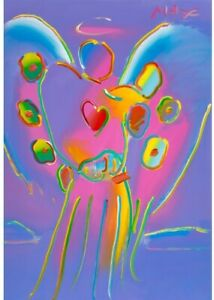 Peter Max - Angel with Heart, 1993, Large Framed Acrylic Painting, Reg #14848