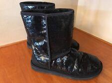 H53 UGG Australia Womens Size 9 Classic Short Boots Sparkle Sequins Black 3161