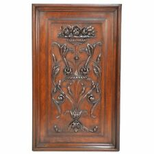 Antique French Carved Walnut Floral Architectural Salvaged Panel