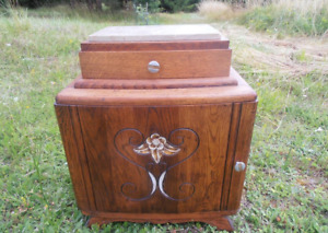 ART DECO solid OAK bedside table with MARBLE top