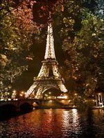 Photo Eiffel Tower Seine Paris Night Picture Canvas Art Print