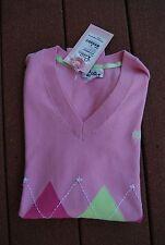 NWT Dark & Light Pink & LIme LILLY PULITZER V-Neck Fancy Nancy Argyle Sweater M