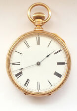 18 ct k Gold Open Face Pocket Watch 1904 American Waltham Co. Mass Adjusted
