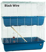 Indoor large two tier Rabbit Guinea Pig Cage 100h Blue/Black