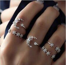 Set of 5 Rings Boho Knuckle Fashion Star Moon Love Diamond Thumb Stack Jewelry