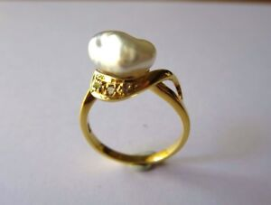 SOUTH SEA WHITE KESHI PEARL 10 MM RING WITH DIAMOND 18 CT YELLOW GOLD SIZE N NEW
