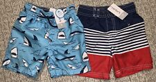 New Set Of Two Carter's Swim Trunks, Size 3T with Mesh Lining