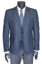 NWT TOMBOLINI BLAZER jacket coat wool blue melange 2 button Italy eu 54 us 44