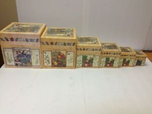 "Bob's Boxes SEASONAL HERBS set of 6 Nesting Stackable Set 9x9x9"" and down"