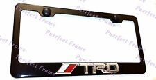 TRD 3D Emblem Toyota Black Stainless Steel License Plate Frame Rust Free W Caps
