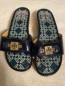 Tory Burch Dixon Slip On Wooden Platform Sandals Navy Patent Leather Size 9.5