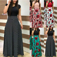 Women Floral Maxi Dress Hawaiian Evening Party Summer Beach Casual Long Sundress