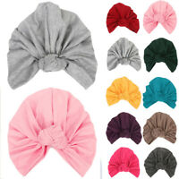 Ladies Women Indian Style Knot Turban Hat Stretchy Solid Color Head Wrap Cap