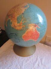 "Vtg Rand McNally12"" Diameter Raised Relief Rotating World Map Globe Soviet Union"