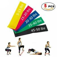 Resistance Bands Exercise Set of 5 Gym Fitness Stretch Elastic Loop Legs Therapy