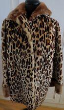 Castor Animal Estampado De Leopardo Chaqueta de piel de cordero piel de oveja de piel de cordero UK16