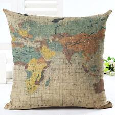 "Art Map Animal Pillow Cover Throw Pillow Case Sofa Cushion Cover Home Decor 18"""