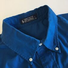 Polo Ralph Lauren Men's Blue Long Sleeve Oxford Shirt Large L 17 / 44 Cotton