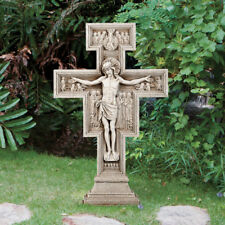 "San Damiano Garden Cross 24"" Suitable for Outdoor Garden Decor Stoneresin"