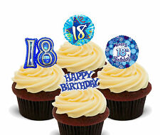 18th Birthday Boy, Edible Cup Cake Toppers, Standup Fairy Decorations, Male Blue