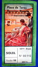 TICKET BILLET ANCIEN CORRIDA 52 PLAZA DE TOROS ARENES BAYONNE BIARRITZ BULLFIGHT