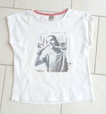 Tee shirt fille 10 ans TAPE A L OEIL manches courtes blanc avec motif photo