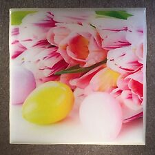 EASTER Coaster Custom Ceramic Tile Flowers Eggs