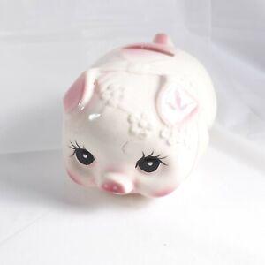 Piggy Bank Vintage Big Eyes Cute Ceramic Pink Pig